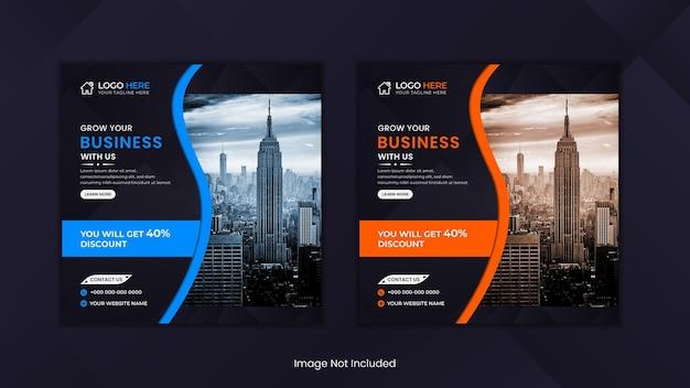 Corporate social media post design mit blauen und orangefarbenen organischen formen.