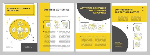 Corporate social responsibility aktivitäten gelbe broschürenvorlage. flyer, broschüre, broschürendruck, cover-design mit linearen symbolen. vektorlayouts für präsentationen, geschäftsberichte, anzeigenseiten