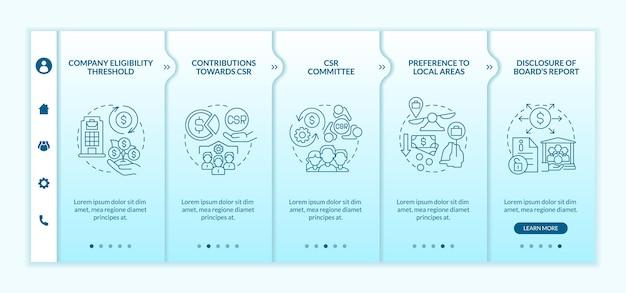 Corporate social responsibility basics blaue farbverlauf onboarding vektorvorlage. responsive mobile website mit symbolen. webseiten-walkthrough-bildschirme in 5 schritten. farbkonzept mit linearen illustrationen
