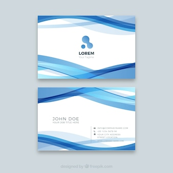 Corporate visitenkarte mit blauen wellen