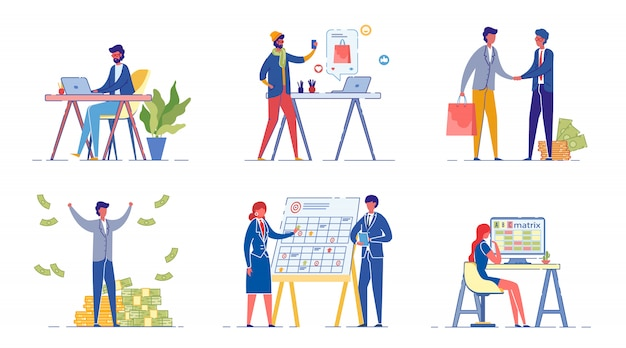 Corporate workers flat illustrations set