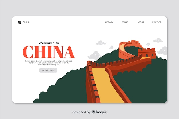 Corporative landing page web template für reiseveranstalter agentur in china