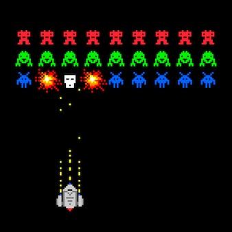 Cosmic invaders spiel. gesetzte retrostilvideospiel-vektorillustration des pixelraum-eindringlings mit kugel und raumschiff