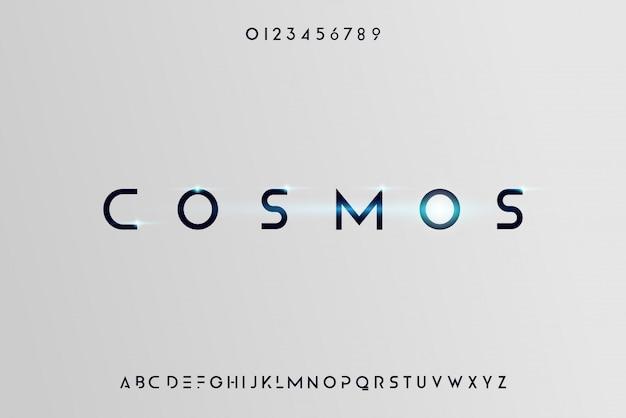 Cosmos, eine abstrakte futuristische alphabetschrift mit technologiethema. modernes minimalistisches typografie-design