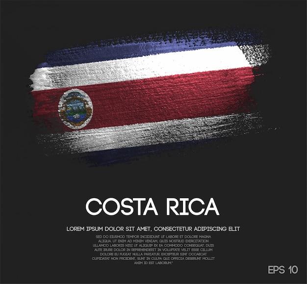 Costa rica flagge aus glitter sparkle pinselfarbe