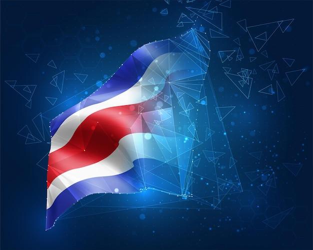 Costa rica, vektorflagge, virtuelles abstraktes 3d-objekt aus dreieckigen polygonen auf blauem hintergrund