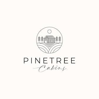 Cottage pine tree logo vorlage in weißem hintergrund isoliert. vektorillustration