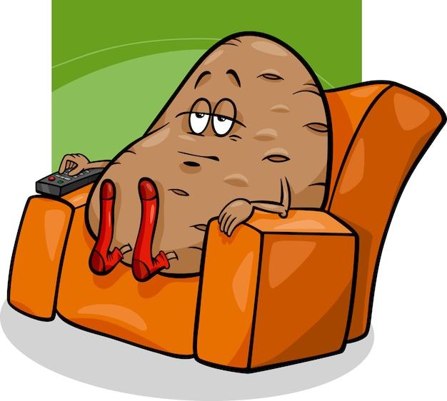 Couchkartoffel, die karikatur sagt
