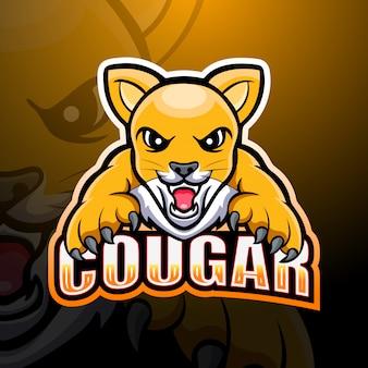 Cougar maskottchen esport illustration
