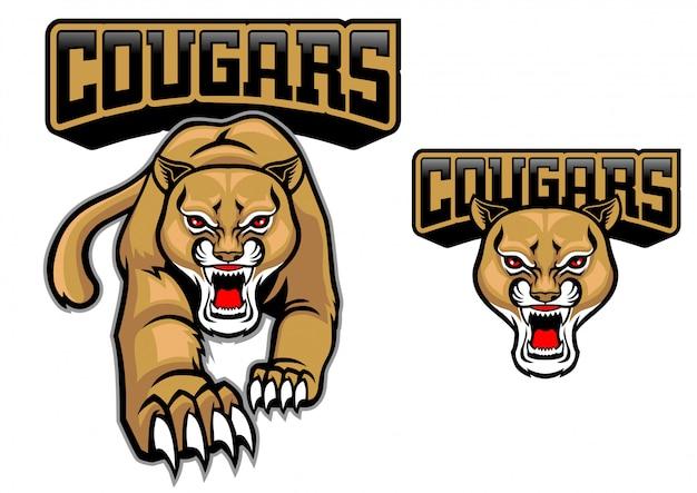 Cougar maskottchen gesetzt