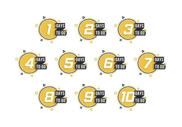 Countdown 1 bis 10, tage bis zum etikett oder emblem können für werbung, verkauf, zielseite, vorlage, benutzeroberfläche, web, mobile app, poster, banner, flyer verwendet werden. anzahl der verbleibenden tage countdown.