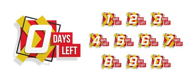 Countdown 1 bis 10, tage übrig etikett oder emblem kann für werbung, verkauf, landing page, vorlage, benutzeroberfläche, web, mobile app, poster, banner, flyer verwendet werden. anzahl der verbleibenden countdowns. vektorillustration