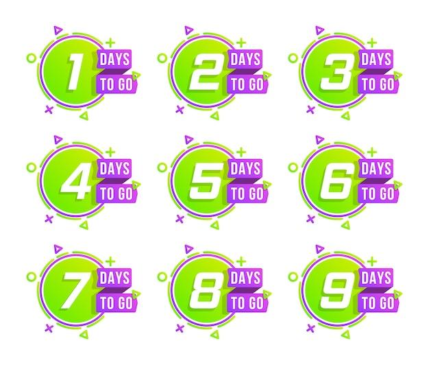 Countdown 1 bis 10, verbleibende tage etikett oder emblem. anzahl der tage für den countdown.