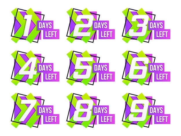 Countdown 1 bis 10, verbleibende tage etikett oder emblem. anzahl der verbleibenden countdowns.