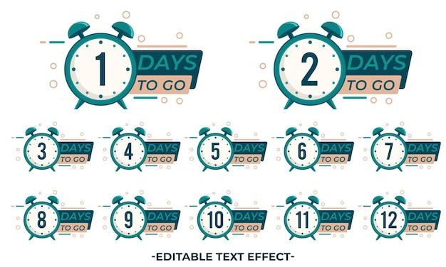 Countdown-abzeichen mit uhr eingestellt