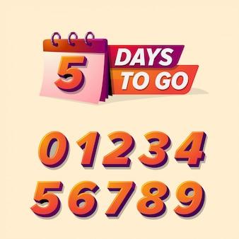 Countdown-abzeichen, tag zu gehen vorlage