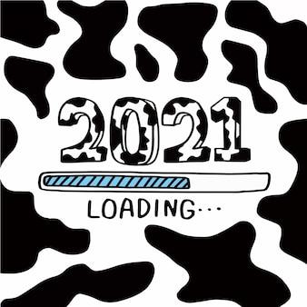 Countdown bis 2021 neujahr, 2021 jahr des ochsen