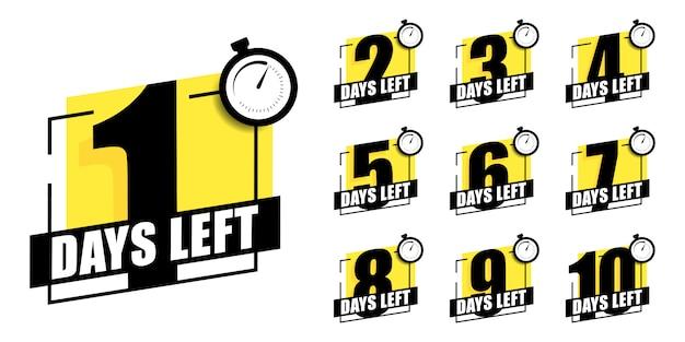 Countdown der tage 1,2,3,4,5,6,7,8,9,10. die tage hinterließen abzeichen. ein countdown läuft, eines tages habe ich ein abzeichen und ein etikett hinterlassen, um das arbeitsdatum zu berechnen. angebotstimer, aufkleber auf wenige tage begrenzt.