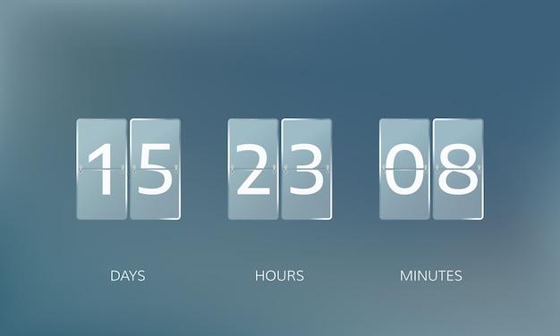 Countdown-design ankündigen. zähle tage, stunden und minuten. illustration
