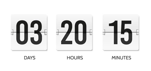 Countdown flip clock zähler mechanische banner anzeigetafel oder flipboard