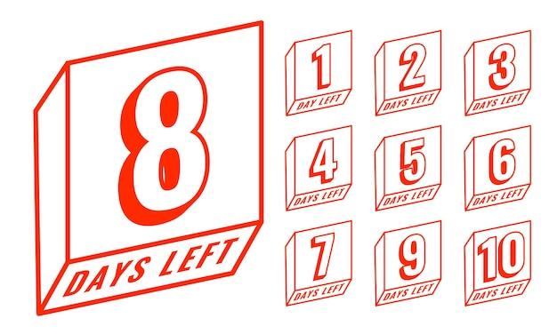 Countdown im linienstil anzahl der verbleibenden tage des banners