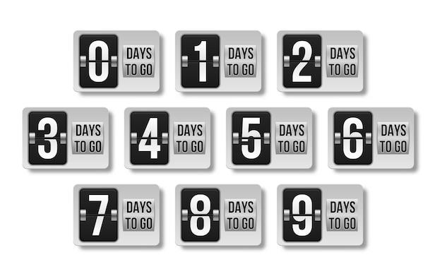 Countdown ließ tage isoliert auf weiß