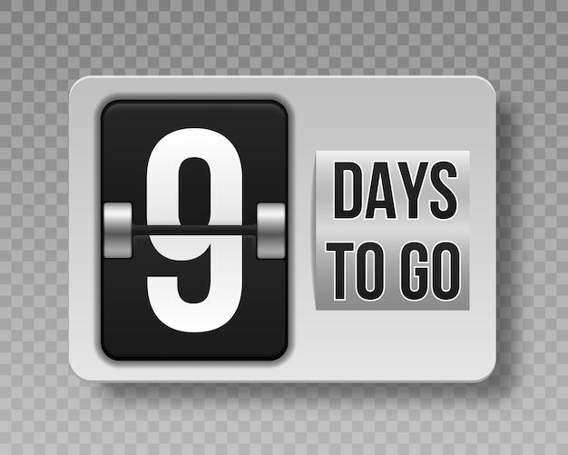 Countdown links tage auf transparentem hintergrund