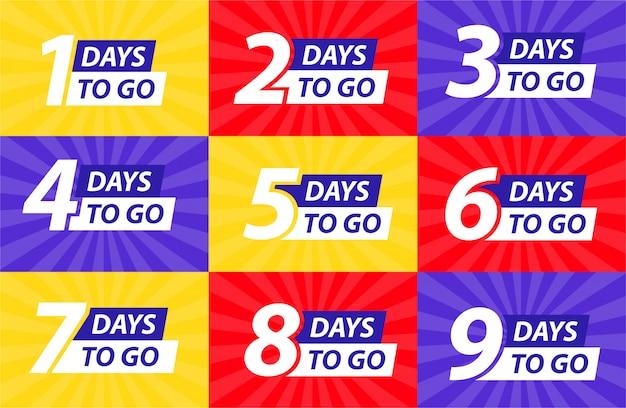 Countdown links tage banner. zeit zählen verkauf. neun, acht, sieben, sechs, fünf, vier, drei, zwei, eins, null tage übrig.