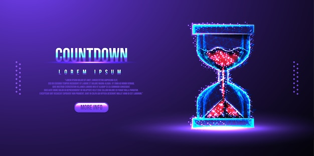 Countdown sandglas low poly drahtgitter