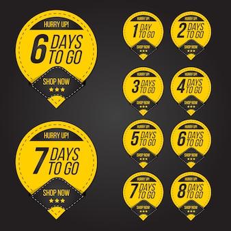 Countdown-tage bis zum verkauf label abzeichen set sammlung