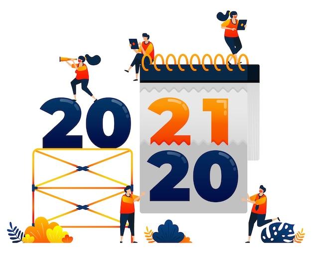 Countdown-thema thema der entfernung des kalenderkonzepts des letzten jahres