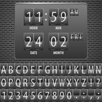 Countdown-timer auf dem mechanischen zeitplan