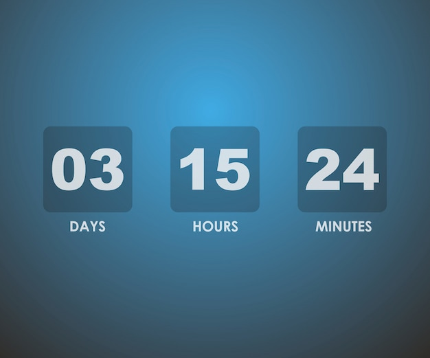 Countdown-timer im blauen quadrat
