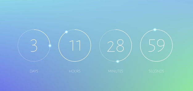 Countdown timer kreis zähler zeit digitaluhr anzeigetafel vorlage bald mit stunden minuten minuten sekunden