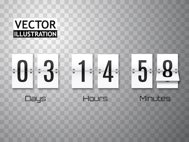 Countdown-timer mit den zahlen lokalisiert auf transparentem. uhrenzähler. vorlage