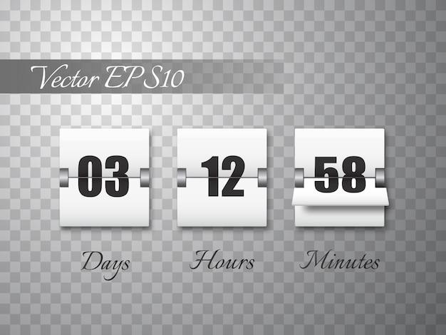 Countdown-timer mit den zahlen lokalisiert auf transparentem