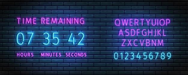 Countdown-timer. neonuhrzähler mit schriftart. zeit verbleibende tafel. beleuchteter countdown.