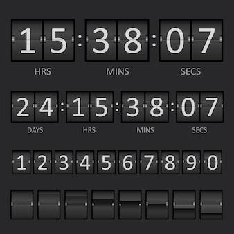 Countdown-timer und anzeigetafelnummern