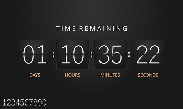 Countdown-timer-vorlage umdrehen. vektor.