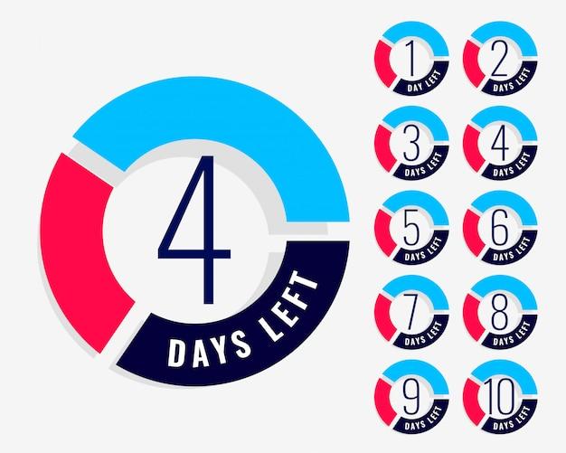 Countdown-timer zeigt die anzahl der verbleibenden tage an