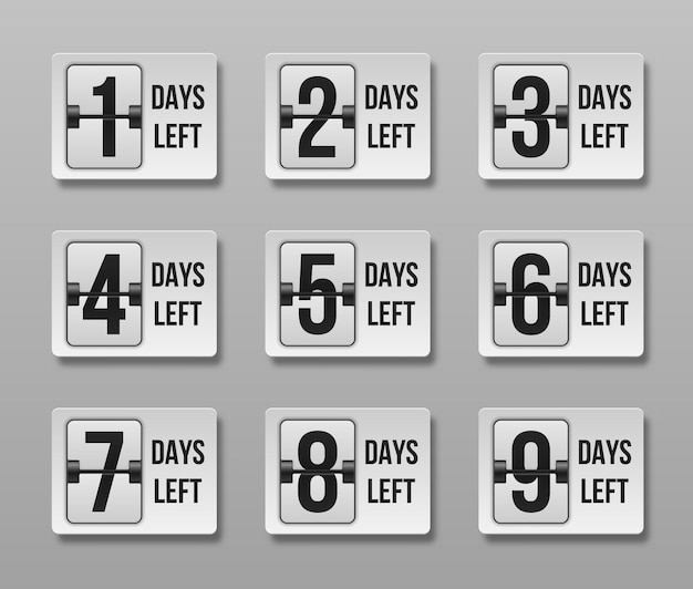 Countdown übrig tage. zeitverkauf zählen. Premium Vektoren