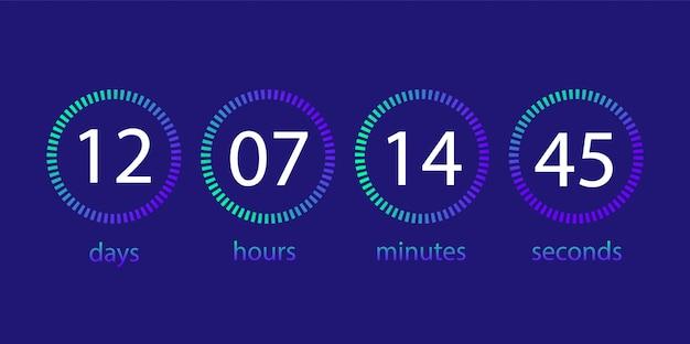 Countdown-uhr. anzeigetafel des tages, stunde, minute, sekunde.
