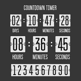Countdown-uhrzähler-timer auf schwarz drehen