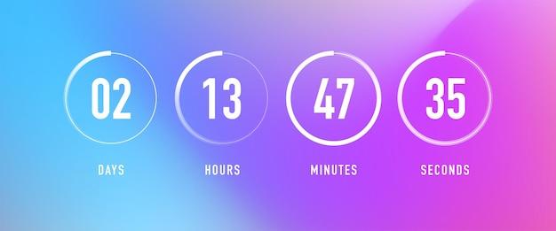 Countdown-uhrzähler timer mit tageskreis stunden minuten sekunden webseite bevorstehendes ereignis ui