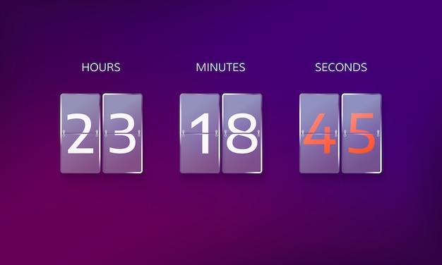 Countdown vor dem ende des angebots. zählen sie stunden, minuten und sekunden. web-banner-countdown lokalisiert auf lila hintergrund