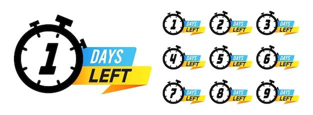 Countdown-zeichen. noch tage bis zum verkauf von marketingabzeichen, etiketten mit weckernummern, angebots-timer für werbeaktionen. einfache flache vektorillustration