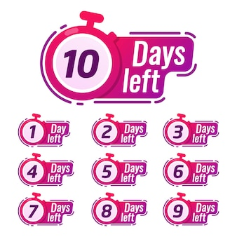 Countdown-zeichen-timer-zähler-tage, um abzeichen zu gehen