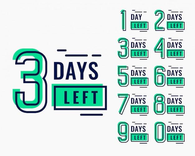 Countdown-zeit für die anzahl der verbleibenden tage