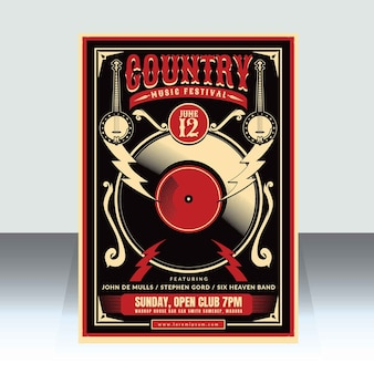 Country-musik-plakat-vorlage