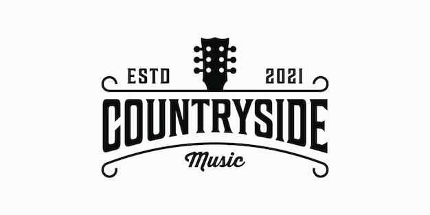 Countryside-musik-vintage-retro-hipster-silhouette-logo-elemente